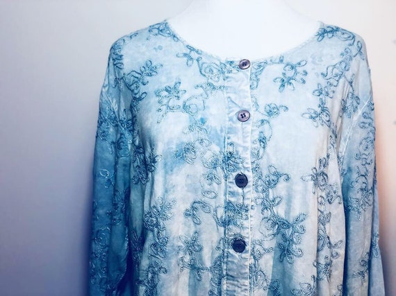 Blue Indian Embroidered Top - image 8