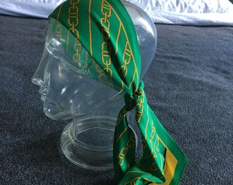 Vintage 1980s Monique Martin Green and Yellow Chain Design Ponytail Scarf