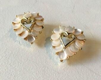 Vintage Goldtone and Mother of Pearl Heart Brooch Set