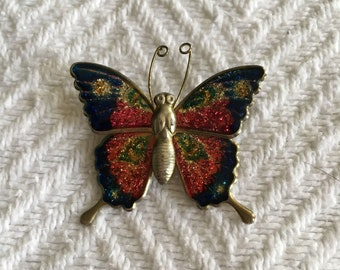 Vintage 1970s Gold Tone and Enamel Butterfly Brooch
