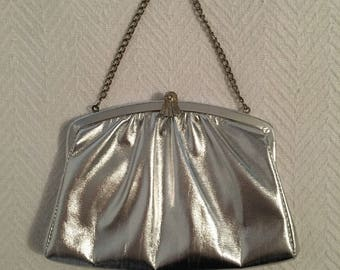 Vintage 1960s Silver Evening Bag with Hinged chain Handle - Converts to Clutch