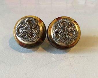 Vintage Resin and Metal Button Clip on Earrings
