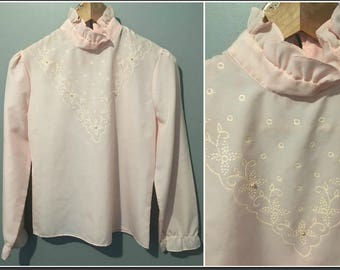 0d75a27faaa5a9 Vintage 1960s Pink Blouse with Pearls Glitter and Embroidered Detailed -  Size 8