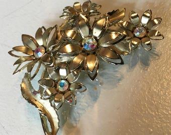 Vintage Coro Metal Flower Brooch with Rhinestones