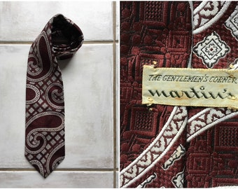 7f4c487f97df Tie Vintage 1970s Principe for Martin's Fat Red and White Baroque Polyester  Necktie