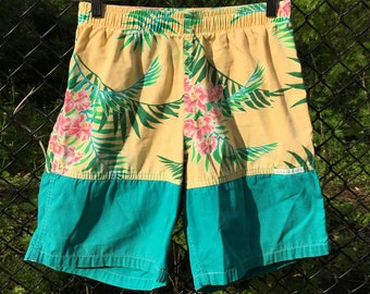 7c9aaa686e Mens Shorts Beach Pounder Ocean Breeze Hawaii Mens Board Shorts Turquoise  and Yellow Vintage Shorts Size Small