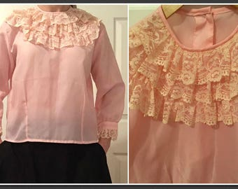 477fdf03046220 Vintage 1960s Pink Blouse with Contrasting Lace Ruffle Detail at Neck and  Cuff - Size 10