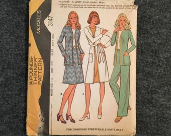 Vintage 1972 McCall's Coat, Jacket and Skirt Pattern Size 14