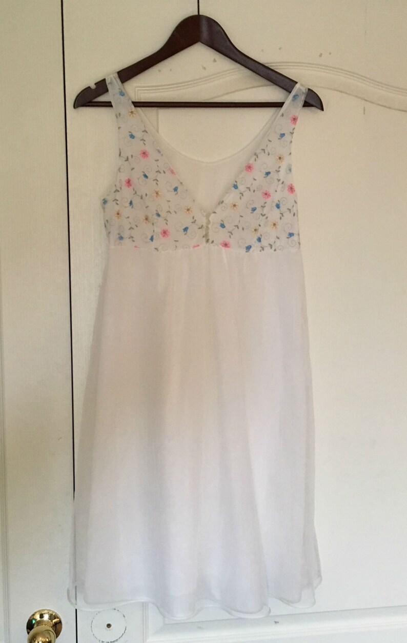Babydoll Nightgown White Floral Two Layer St Michael Lingerie Babydoll Nightie 60s Vintage Nightgown Size Small