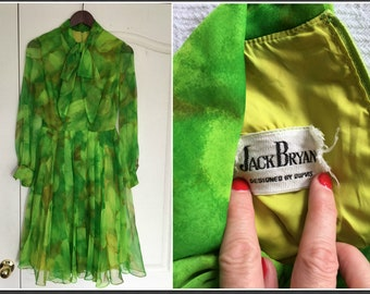 Vintage 1960s Jack Bryan Designed by Dupuis Green Dress - Size Small