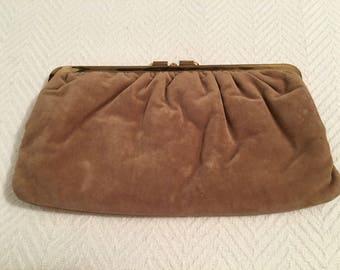 Vintage 1980s Brown Suede Clutch with Goldtone Closure