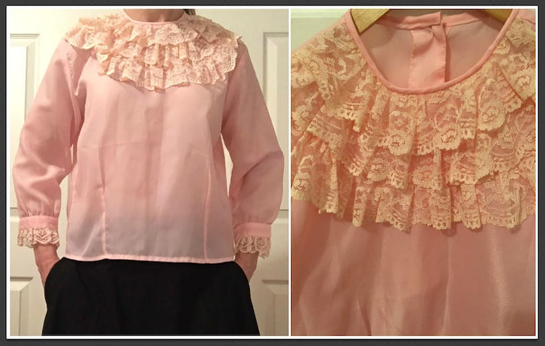 48377b71 Vintage 1960s Pink Blouse with Contrasting Lace Ruffle Detail | Etsy