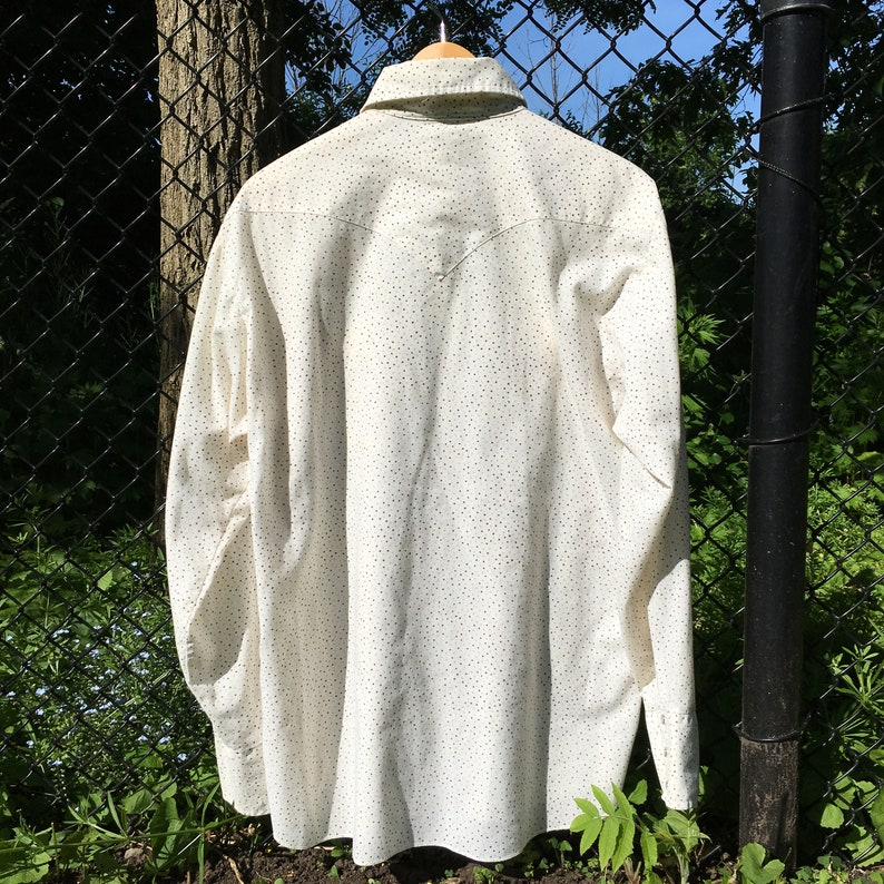 70s Western Shirt Mens Vintage Western Shirt Cowboy Shirt Men Caravan Polka Dot Shirt 70s collared shirt Rodeo Cowboy Shirt XL