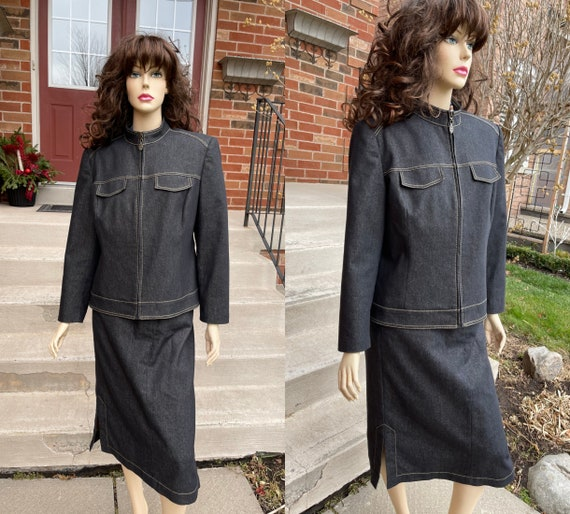 90s era Nygard Petites Denim Jacket and Skirt Set
