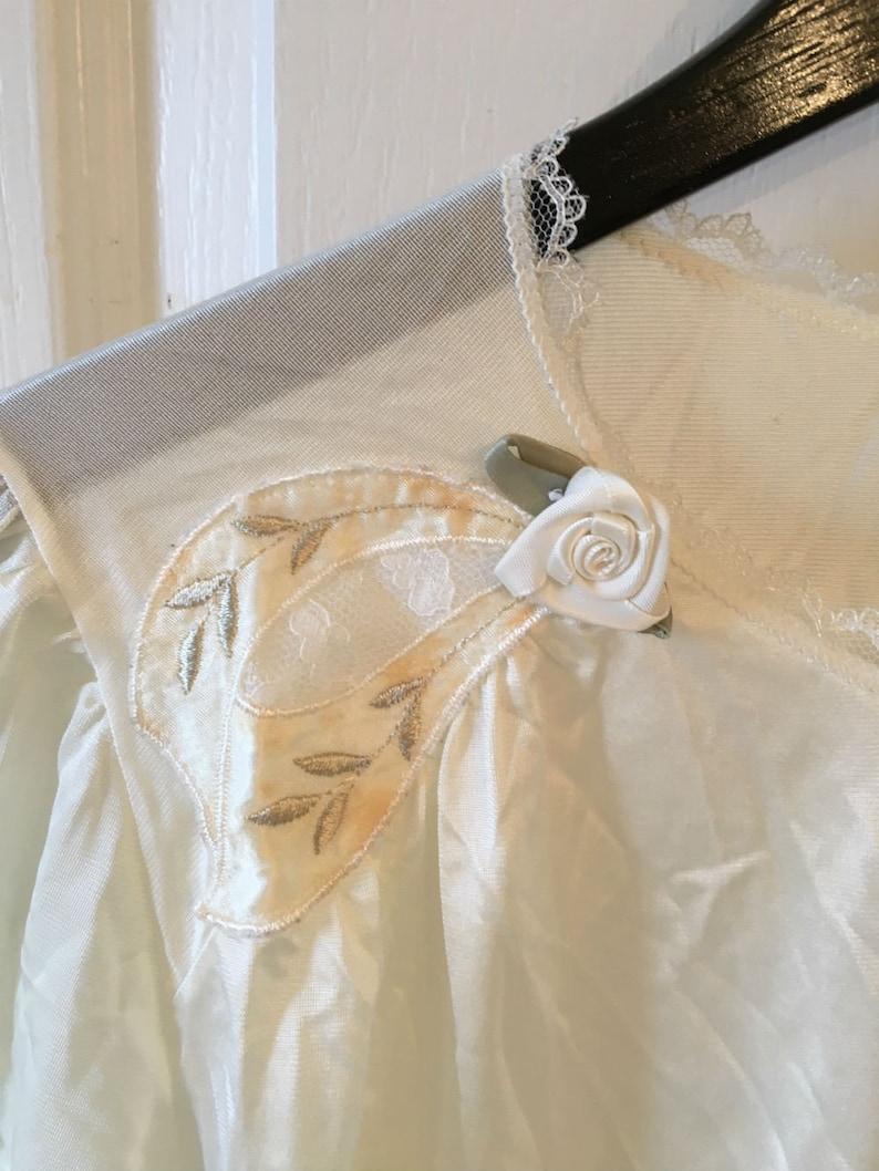 Vintage Lorraine Babydoll Nightie Nylon Babydoll Night Robe Peignoir Robe Beautiful Sheer with Rose Detail at Shoulders Size Medium