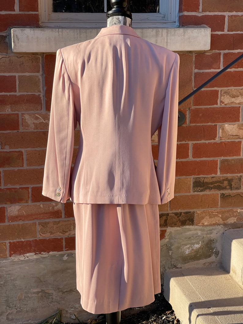 Vintage Liz Claiborne Pink Silk Skirt Set  Silk Blazer  Silk Midi Skirt  Pink Silk Suit  Jacket Skirt Set  Vintage 90s Suit