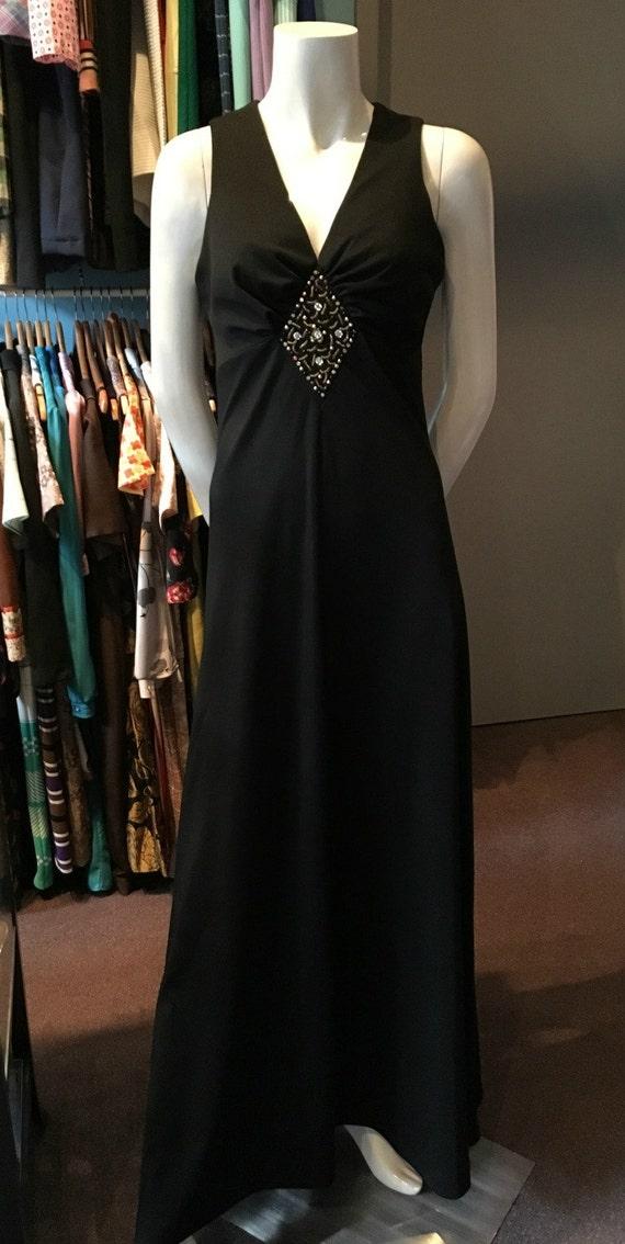 The House of Nu-Mode Black Evening Dress Long Party Dress 1970s Evening Dress Elegant Cocktail Dress Empire Waist Dress