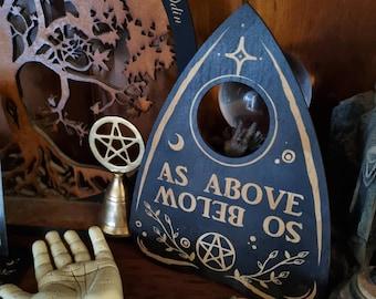 Decorative Planchette // Laser Engraved Spirit Board Pointer // Gothic Witch Decor