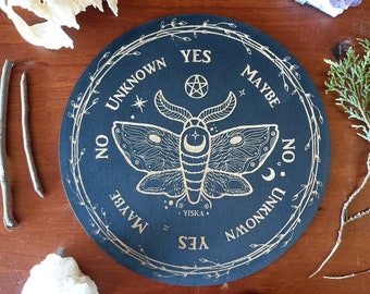 Wooden Pendulum Board // Moth Nature Board // Laser Engraved Answers Board