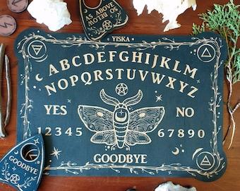 Moth Spirit Board & Planchette Set // Alpha Numeric Talking Board // Laser Engraved Answers Board