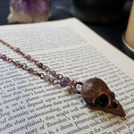 Small Sparrow Skull Pendant // Amethyst Chain Necklace // Electroformed Copper Bone Pendant // Dark Gothic Animal Bone Jewelry