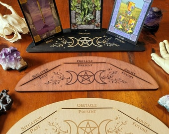 Three Card Triple Goddess Tarot Stand // Tarot Oracle Affirmation Card Display // Laser Engraved Divination Stand