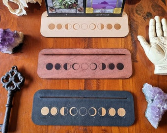 Moon Phase Card Stand // Tarot Oracle Affirmation Card Display // Laser Engraved Divination Stand