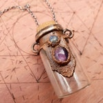 Magical Amethyst Wish Jar // Crystal Memorial Vial // Copper Plated Gemstone Pendant