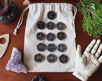 Witches' Rune Set Round // Laser Engraved Runes // Divination Set
