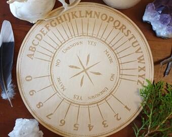 Wooden Pendulum Board // Alpha Numeric Board // Laser Engraved Answers Board