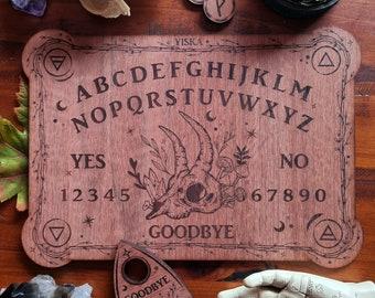 Forest Skull Spirit Board & Planchette Set // Alpha Numeric Talking Board // Laser Engraved Answers Board