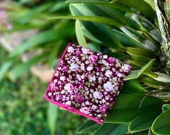 Men's Floral Pocket SquareWedding Handkerchief,Groomsmen ,Father Gift,Boyfriend,Gift,Party,Vintage,White,Wedding Accessories,Graduation Prom