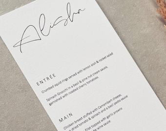 PRINTED // MENUS // Personalised Table Decor Wedding Menu Wedding Reception Keepsake Placecards