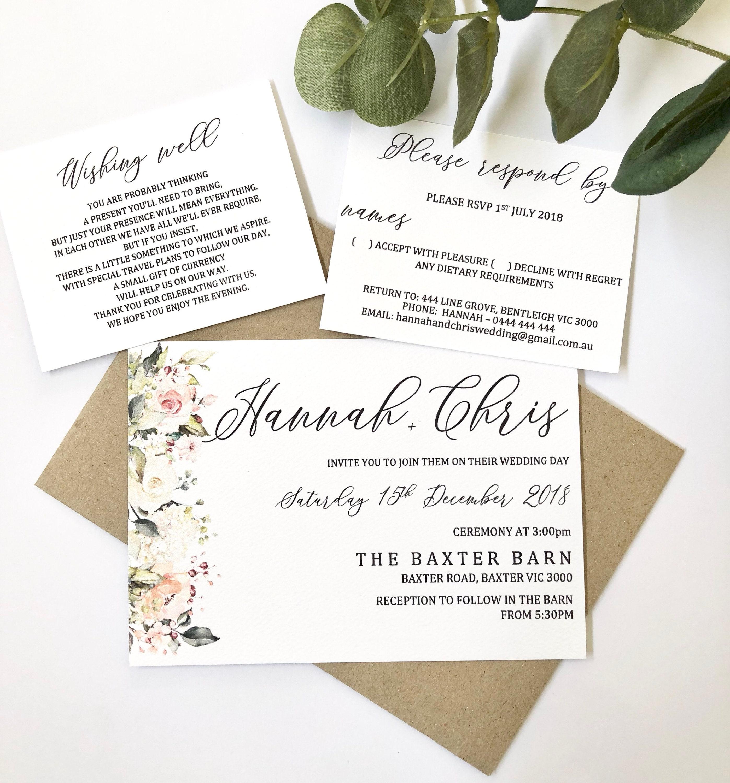 Personalised Wedding Invitation Set With Invitation Wishing Etsy