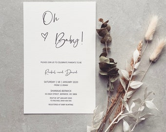 PRINTED // Baby Shower // Invitations We're having a baby, Parents to be,  Mum to be,  Baby Sprinkle