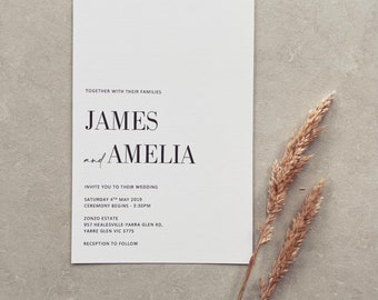 PRINTED // WEDDING INVITATIONS // Wedding Stationery. Personalised and Made to Order. Colour Options available