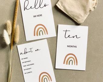 Baby Milestone Cards. Set of 28 | Boho | Rainbow | Printed |  Scandinavian Mum to Be | Present | Baby Shower Gift | Milestone Cards.