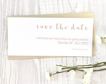 METALLIC | PRINTED INVITATIONS | Save The Date Invitations | Rose Gold | Gold | Silver print