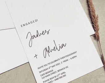PRINTED // ENGAGEMENT INVITATIONS // Wedding Stationery. Personalised and Made to Order. Colour Options available