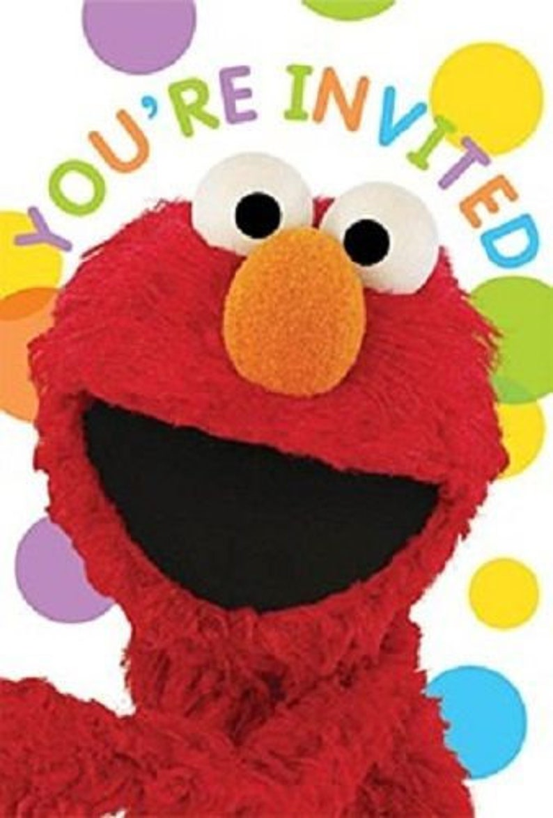 Sesame Street Elmo Invitations [8ct] Birthday Party Stationary Supplies
