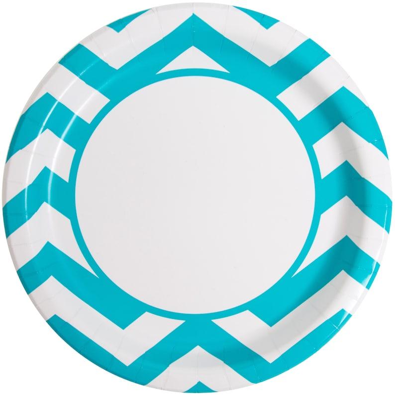 Birthday Graduation Shower Table Supplies 8ct Teal Chevron Dinner Plates