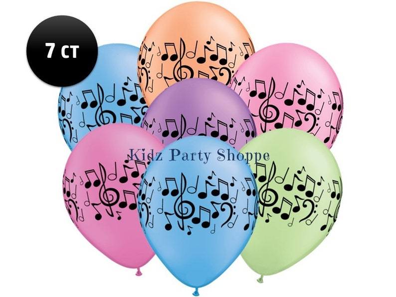 Music Note Balloons 7ct 11 Neon Latex Dance Party Rock Etsy