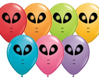 """7ct ALIEN 11"""" Neon LATEX Balloons Space birthday party decorations supplies centerpiece photo prop"""