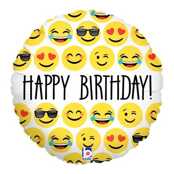 """Emoji Balloon 18""""Foil Mylar Happy Birthday Smiley Faces Emoticon Party Supplies Decorations decor Supply Centerpiece Backdrop Photo Prop"""