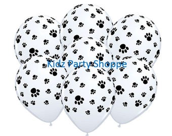 """Paw Prints Balloons [7ct] 11"""" Latex Puppy Dog Kitty Cat Animal Birthday Party Decorations Supplies"""