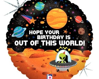 """Alien Birthday Balloon 18"""" Foil Mylar Outer Space Birthday Party Decorations Supplies"""