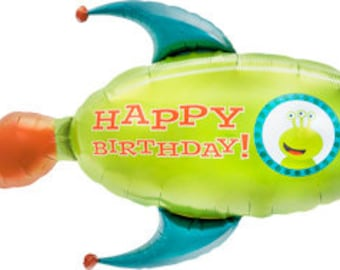 """Rocket Spaceship Alien Balloon 41"""" Foil Mylar Outer Space Birthday Party Decorations Supplies"""