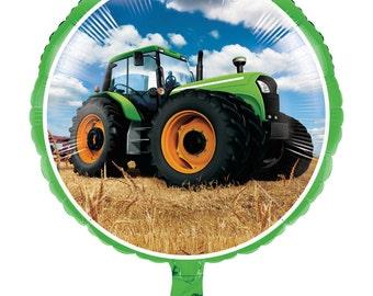 "Green Tractor Time Balloon 18"" Foil Mylar Farm Barnyard Birthday Party Decoration Decor Centerpiece Photo Prop Supplies"