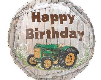 "Green Tractor Balloon 17"" Foil Mylar Farm Barnyard Birthday Party Decoration Decor Centerpiece Photo Prop Supplies"