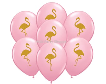 "Pink + Gold Flamingo Balloons [7ct] 11"" Latex Luau Tropical Summer Birthday Party Shower Decorations Supplies"